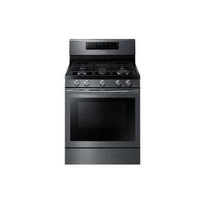 30 in. 5.8 cu. ft. Flex Duo Double Oven Gas Range with Self-Cleaning Dual Convection Oven in Black Stainless