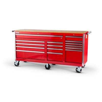 Tech Series 75 in. 15-Drawer Roller Cabinet Tool Chest with Wood Top in Red