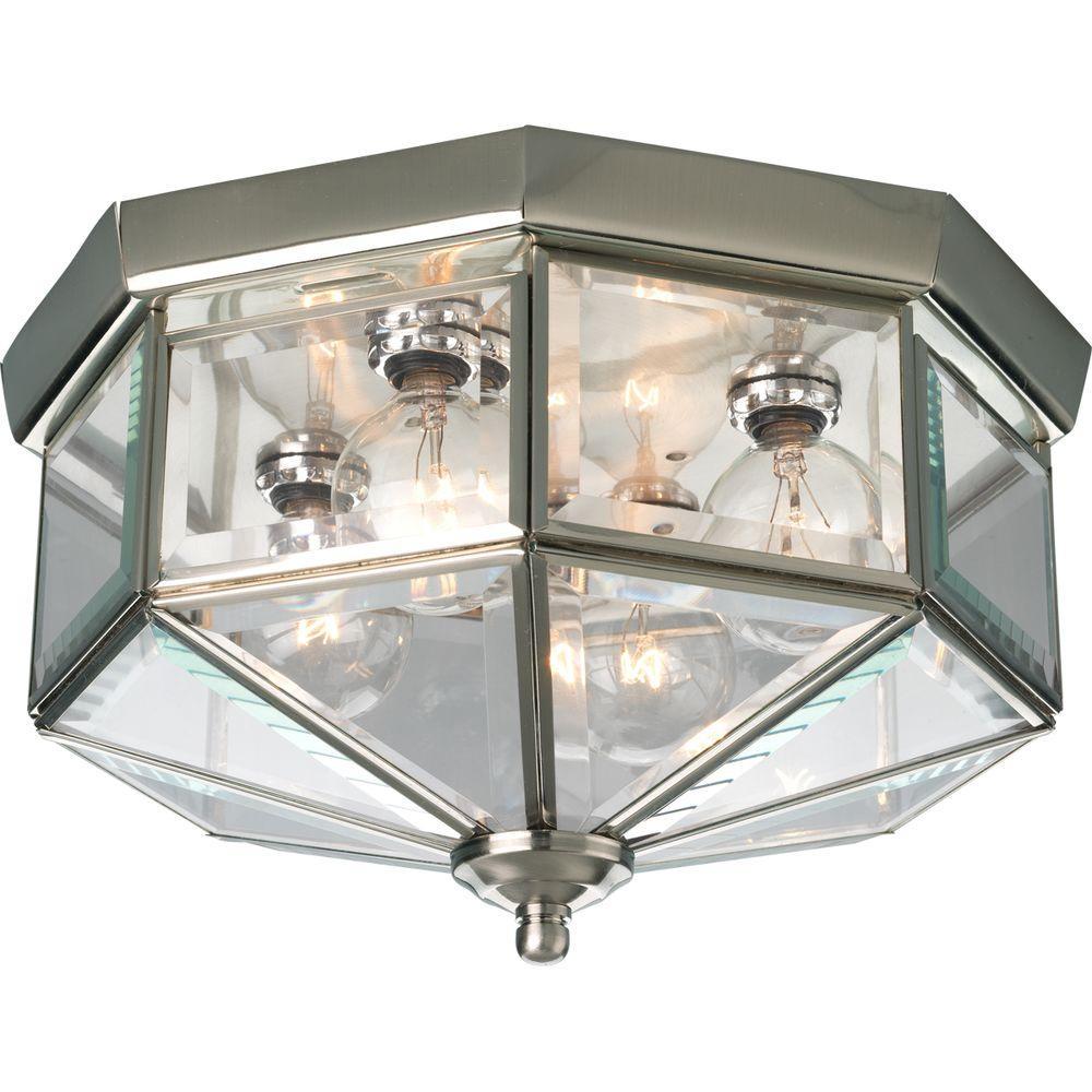 Progress Lighting 11.13 in. 4-Light Polished Brass Flushmount with ...