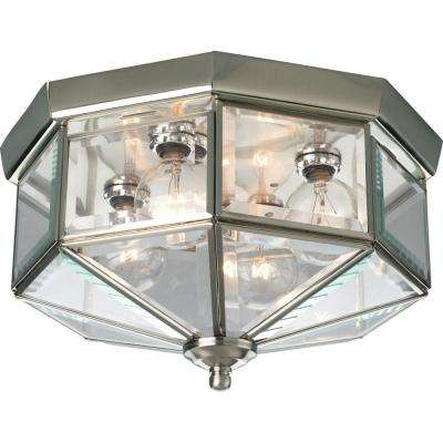 11.13 in. 4-Light Brushed Nickel Flush Mount with Clear Beveled Glass