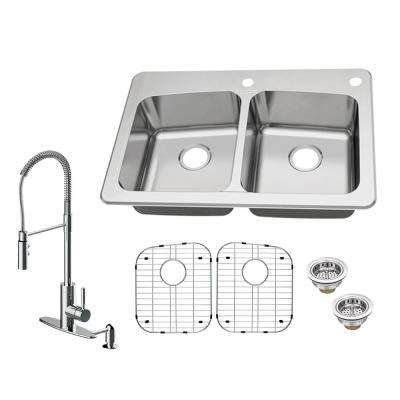 All-in-One Dual Mount 18-Gauge Stainless Steel 33 in. 2-Hole 50/50 Double Bowl Kitchen Sink with Kitchen Faucet