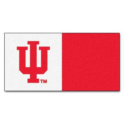 NCAA - Indiana University Red and White Nylon 18 in. x 18 in. Carpet Tile (20 Tiles/Case)