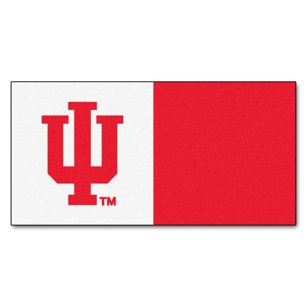 FANMATS NCAA - Indiana University Red and White Nylon 18 in. x 18 in. Carpet Tile (20 Tiles/Case)