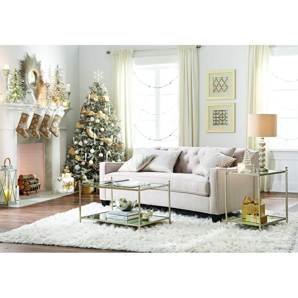 Home Decorators Collection Riemann 81 5 In Pearl Polyester Sofa 9419200810 The Depot