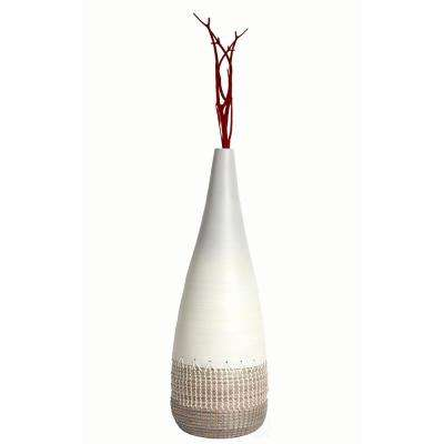 27.5 in. Spun White Medium Bamboo and Coiled Seagrass Patterned Vase