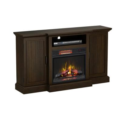 Mattingly 60 in. Freestanding Media Console Electric Fireplace TV Stand in Midnight Cherry