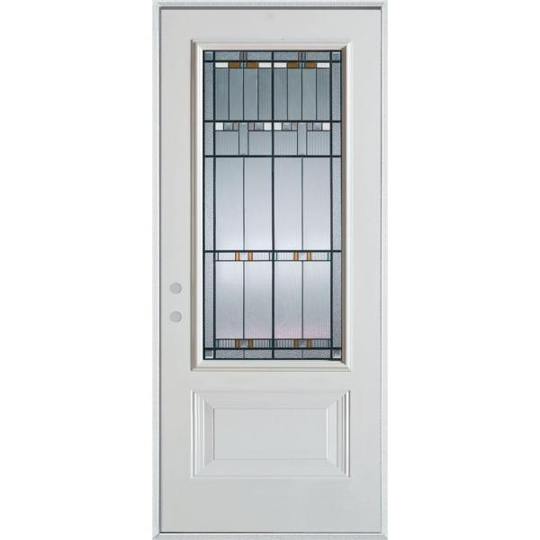 36 in. x 80 in. Architectural 3/4 Lite 1-Panel Painted White Right-Hand Inswing Steel Prehung Front Door