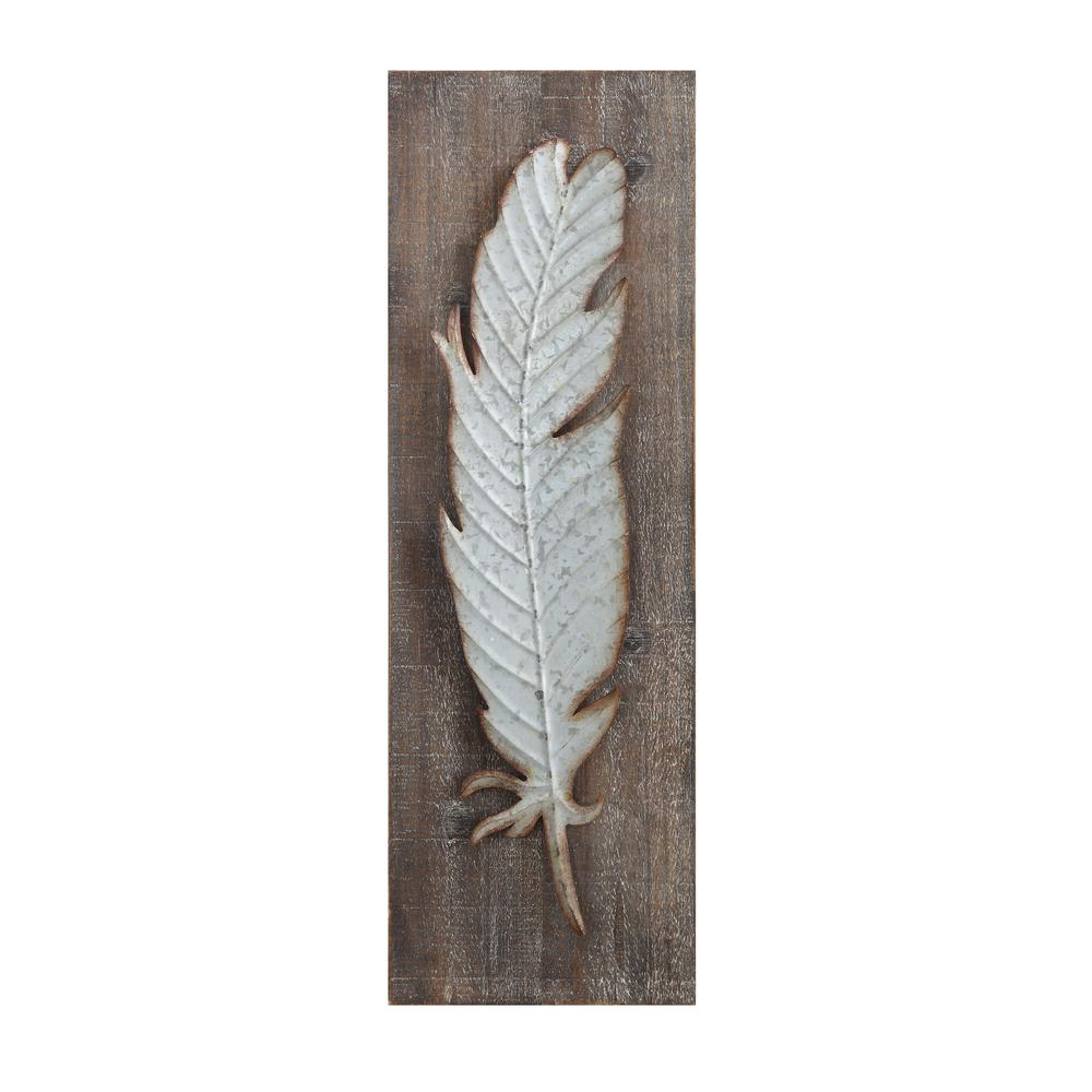 Wood Metal Decor 3R Studios Metal Feather Wood And Metal Wall Sculptureda5884