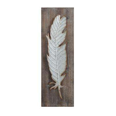 Metal Feather Wood and Metal Wall Sculpture