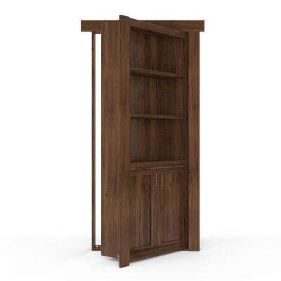 36 in. x 80 in. Flush Mount Assembled Laundry Door Walnut Natural Stained Right-Hand Outswing