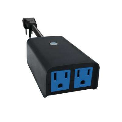7-Day Programmable Outdoor Plug-In Digital Wi-Fi Enabled Timer with 2-Outlets, Black