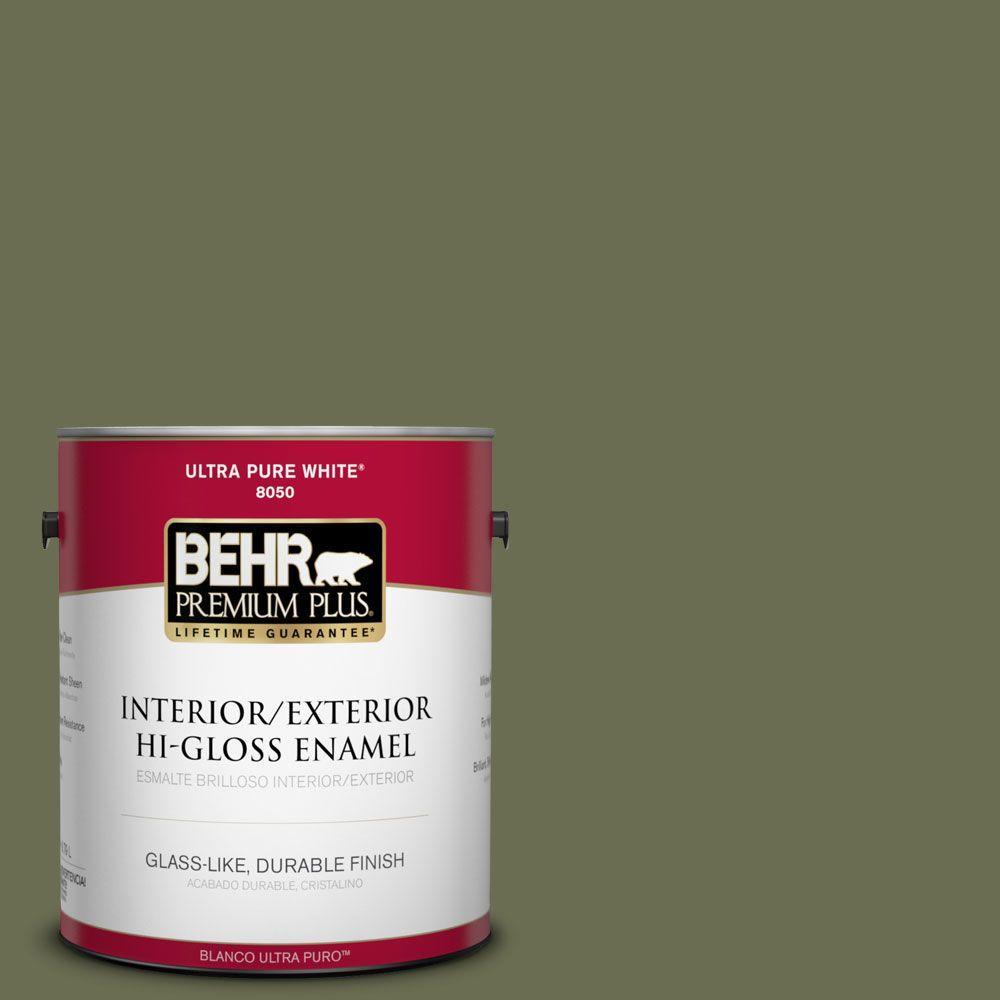 BEHR Premium Plus 1-gal. #S380-7 Global Green Hi-Gloss Enamel Interior/Exterior Paint
