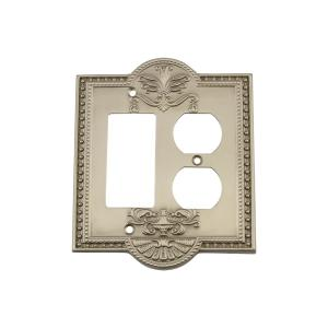 Nostalgic Warehouse Meadows Switch Plate with Rocker and Outlet in Satin Nickel by Nostalgic Warehouse