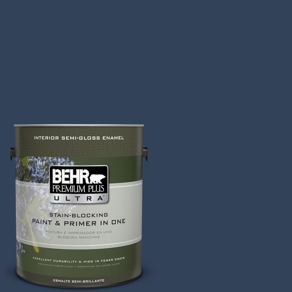 BEHR Premium Plus Ultra 1-gal. #590F-7 Peaceful Night Semi-Gloss Enamel Interior Paint