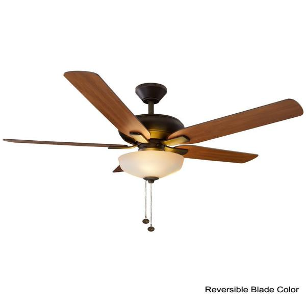Hampton Bay Holly Springs 52 In Led Indoor Oil Rubbed Bronze Ceiling Fan With Light Kit 57261 The Home Depot