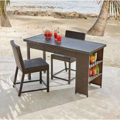 Rehoboth 3 Piece Wicker Outdoor Balcony Height Dining Set