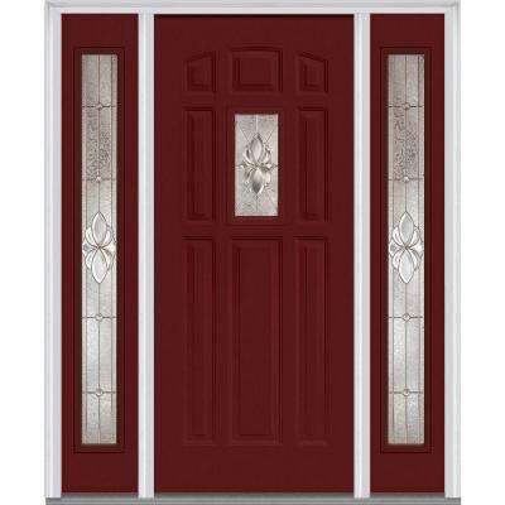 Red Front Doors. 64 in  x 80 Heirloom Master Left Hand 1 Lite 8 Red Front Doors Exterior The Home Depot