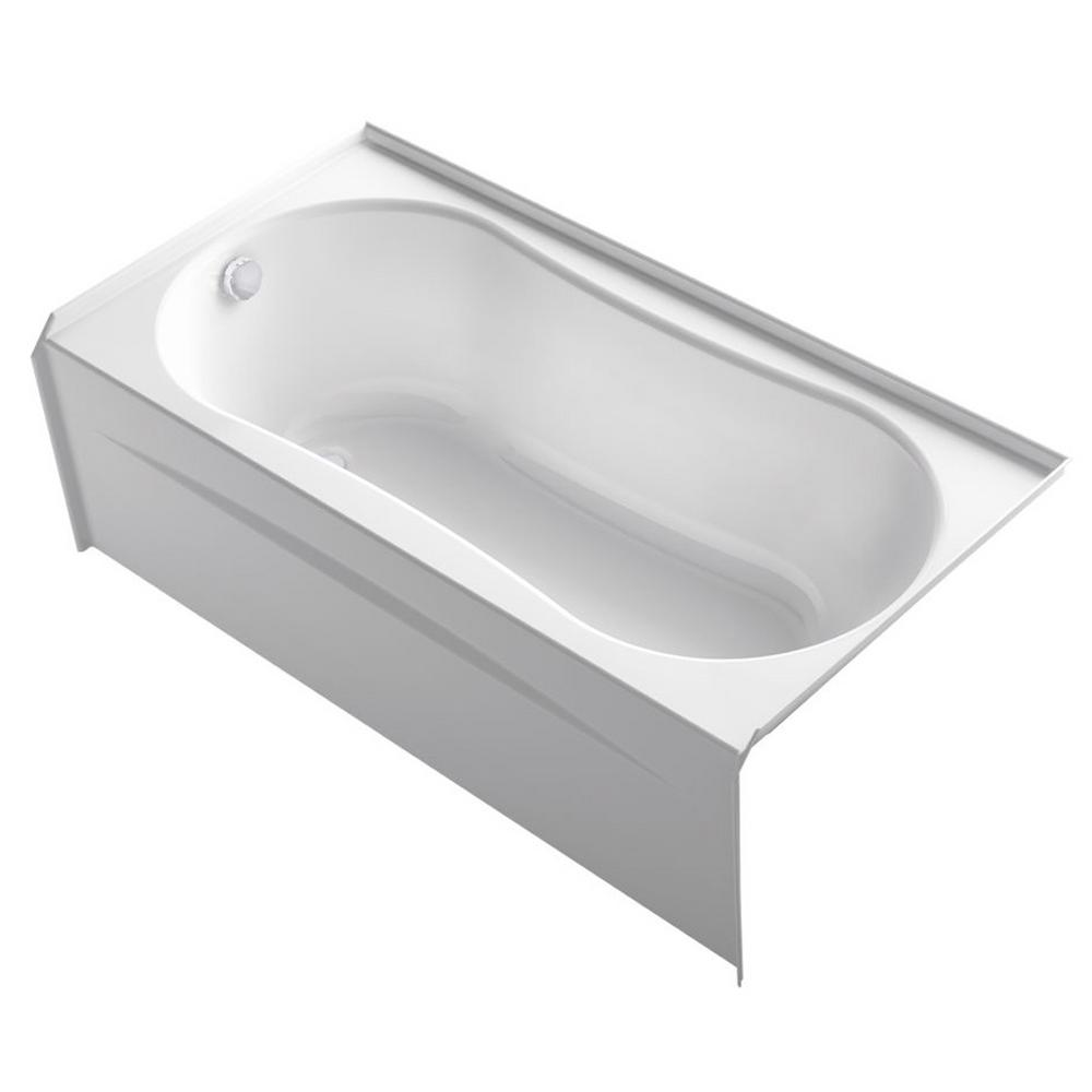 Kohler submerse 5 ft right drain soaking tub in white k for Deep soaking tub alcove