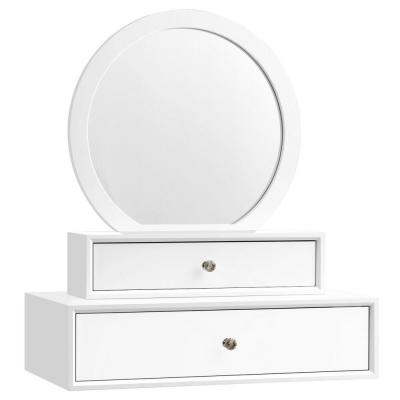 16 in. W x 16 in. H Framed Round Single Makeup Wall Mounted Bathroom Vanity Mirror with 2 Drawer