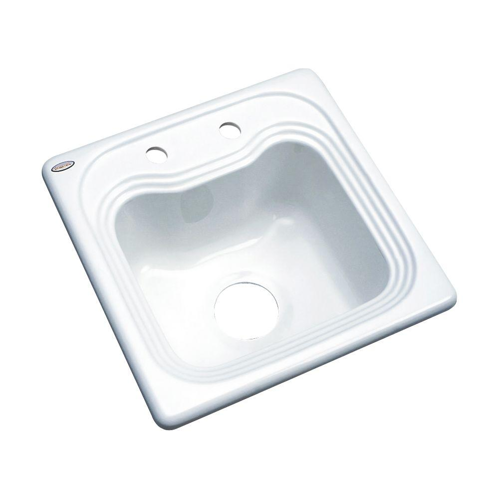 Thermocast Oxford Drop-In Acrylic 16 in. 2-Hole Single Basin Entertainment Sink in White