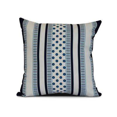 16 in. Comb Dot Geometric Print Pillow in Navy Blue
