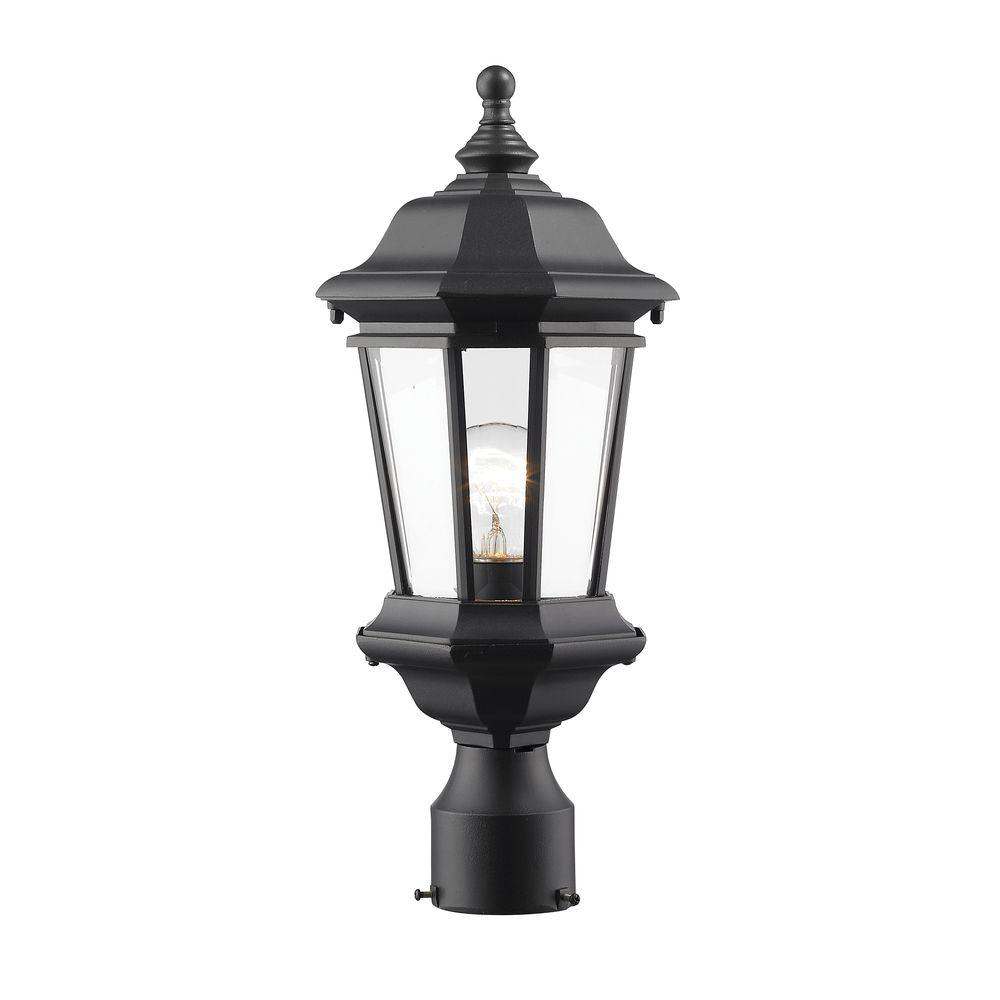 Presley 1-Light Black Classic Outdoor Lamp Post Mount with Clear Beveled