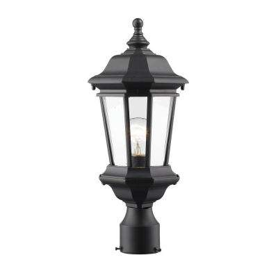Presley 1-Light Black Classic Outdoor Lamp Post Mount with Clear Beveled Glass Shade