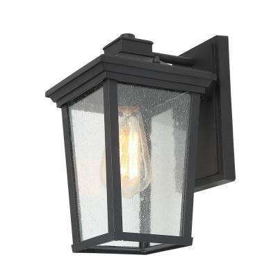 1-Light Black 4 in. Square Patio Outdoor Wall Lantern Seeded Glass Sconce