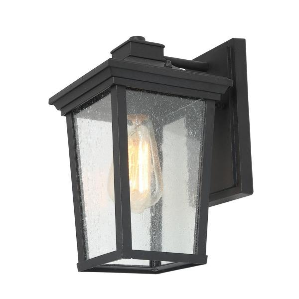 1-Light Black 4 in. Square Patio Outdoor Wall Lantern Sconce Seeded Glass Sconce