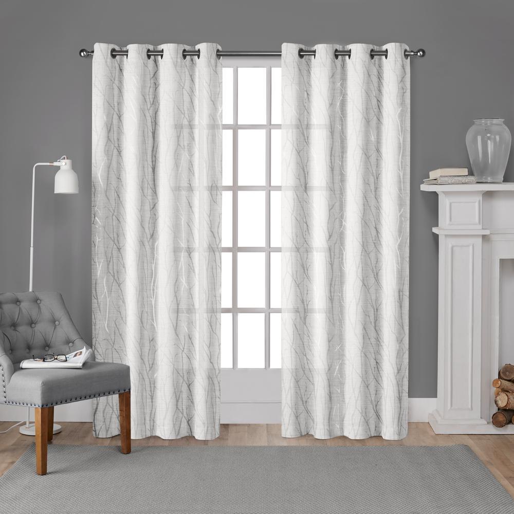 Woodland Winter White Silver Printed Metallic Branch Sheer Textured Linen Grommet Top Window Curtain