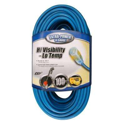 100 ft. 14/3 SJTW Hi-Visibility/Low-Temp Outdoor Medium-Duty Extension Cord with Power Light Plug