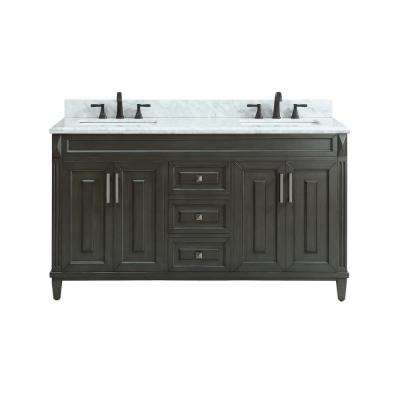 Sterling 61 in. W x 22 in. D x 35 in. H Vanity in Charcoal with Marble Vanity Top in Carrera White with White Basin