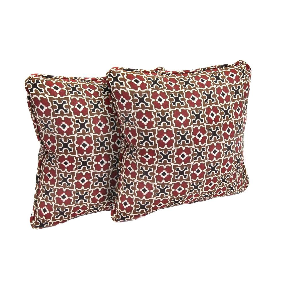 hampton bay Hampton Bay Fall River Red Outdoor Throw Pillow (2-Pack), Pattern