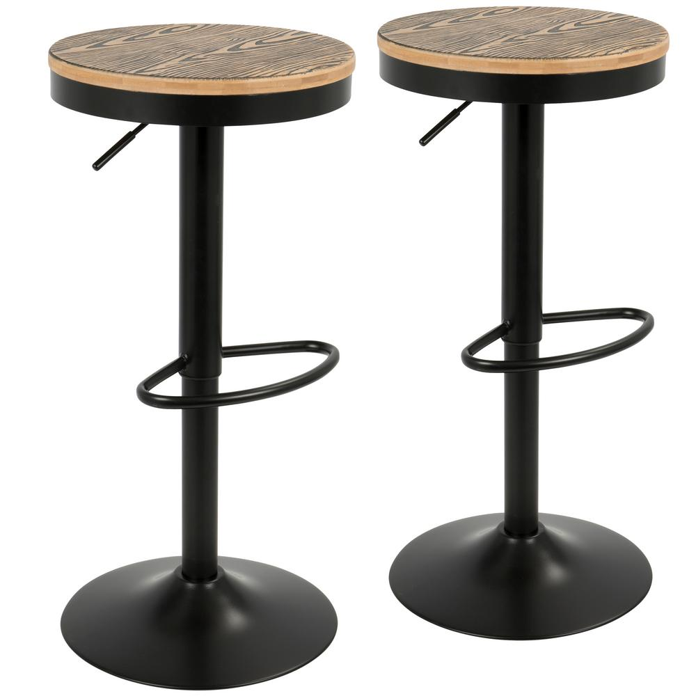 Lumisource Dakota Industrial Black Swivel Barstool (Set Of 2)