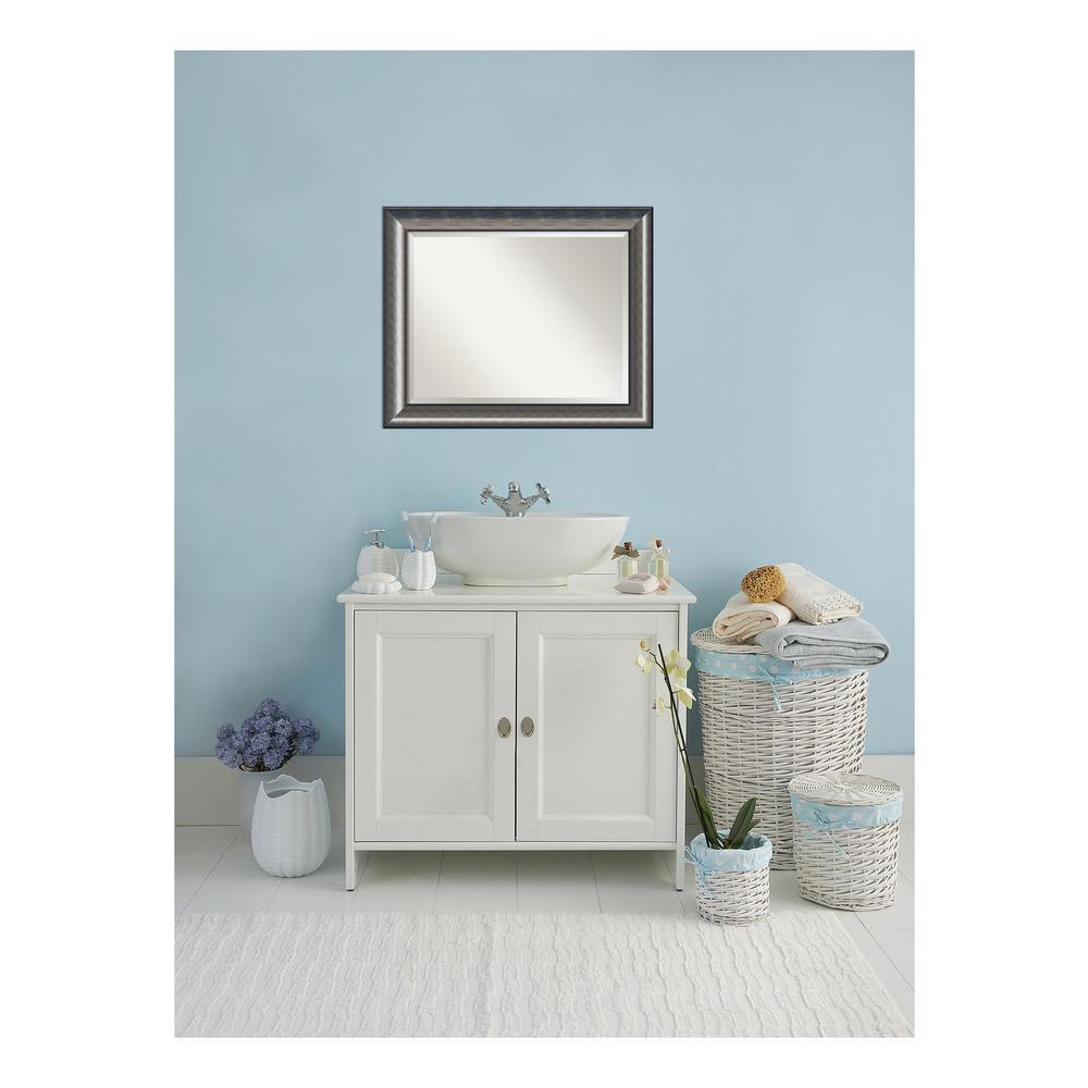 Quick Metallic Silver Scoop Wood 34 in. W x 28 in. H Single Contemporary Bathroom Vanity Mirror