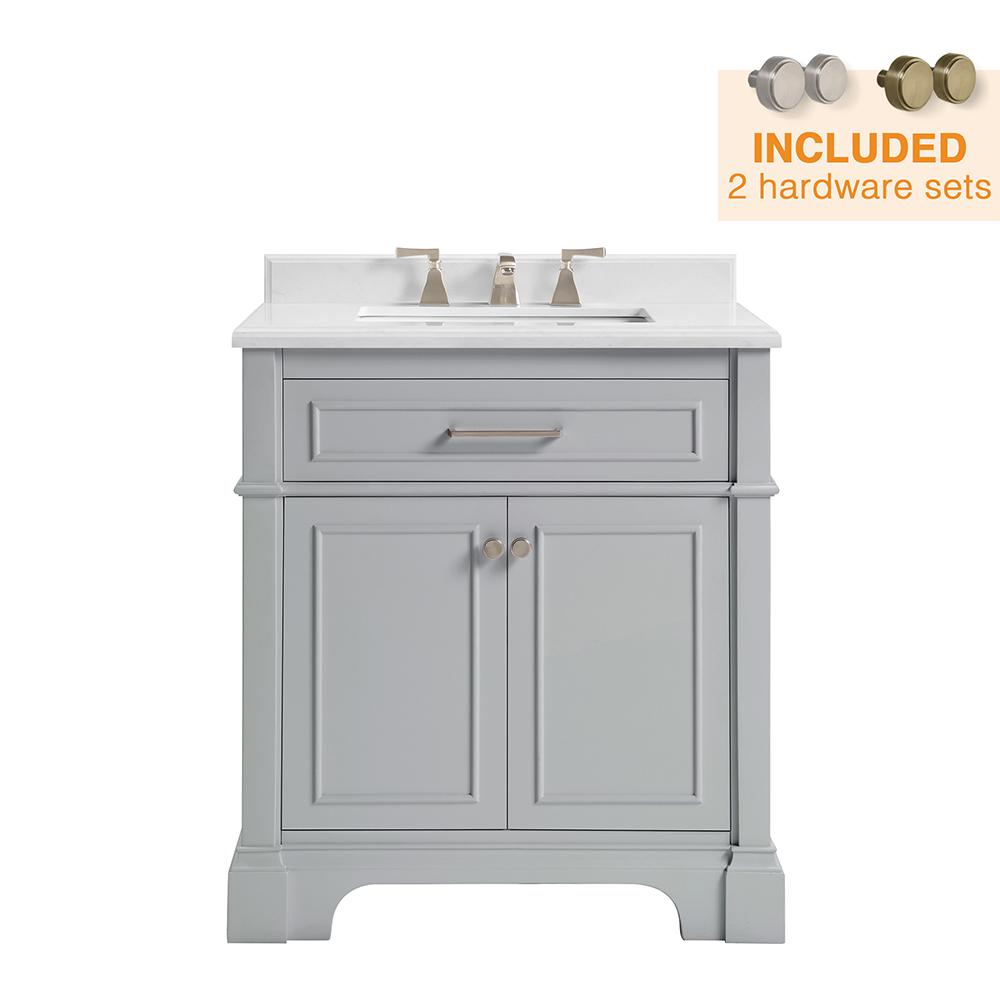 Home Decorators Collection Melpark 30 in. W x 22 in. D Bath Vanity in Dove Grey with Cultured Marble Vanity Top in White with White Sink