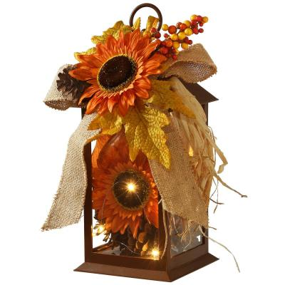 12 in.  Decorated Autumn Lantern with LED Lights