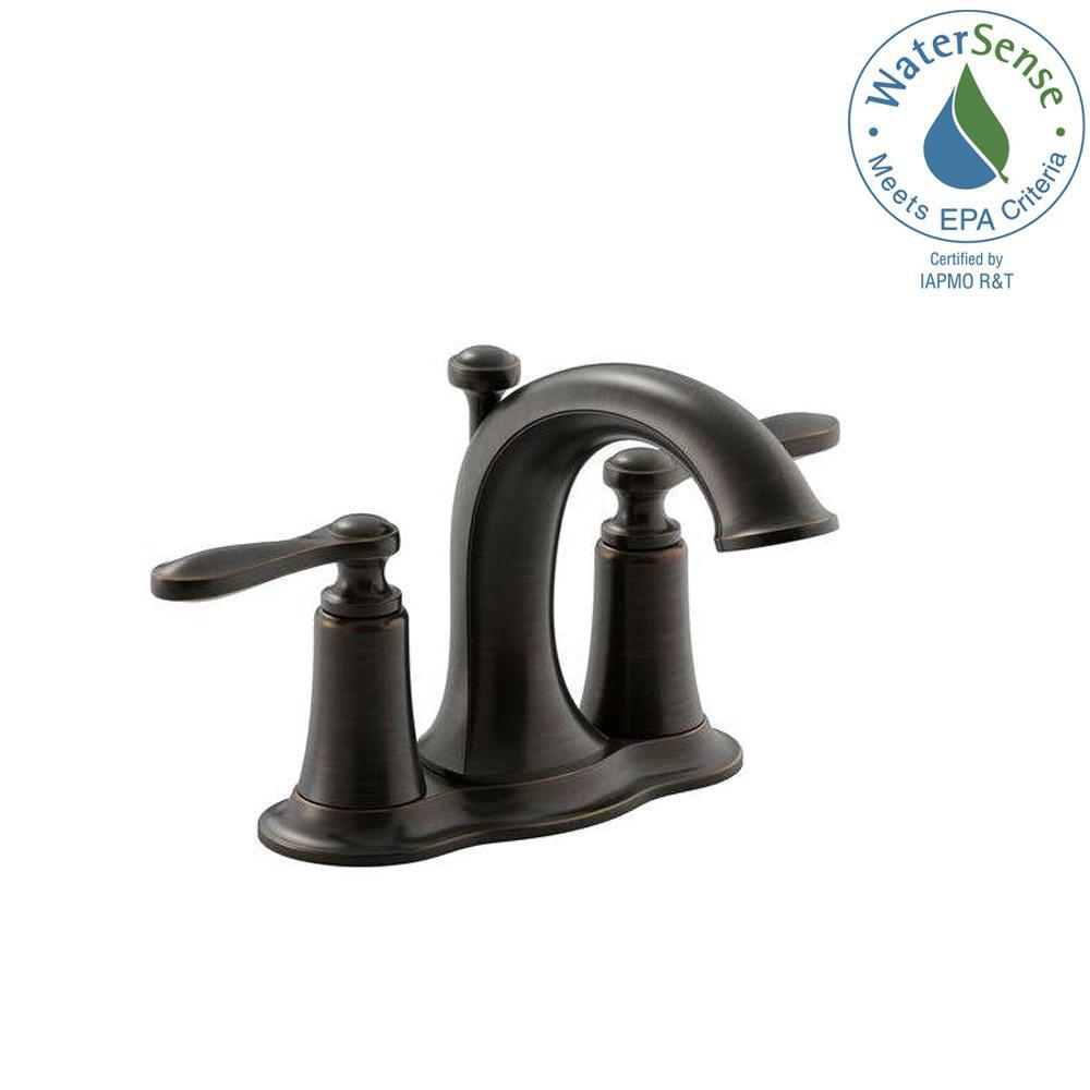 Linwood 4 in. Centerset 2-Handle Water-Saving Bathroom Faucet in Oil-Rubbed Bronze