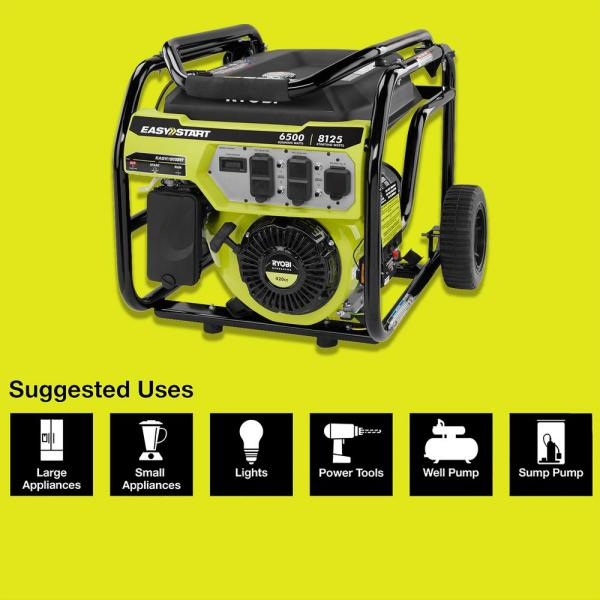 Ryobi 6 500 Watt Gasoline Powered Portable Generator With Co Shutdown Sensor Ry906500s The Home Depot