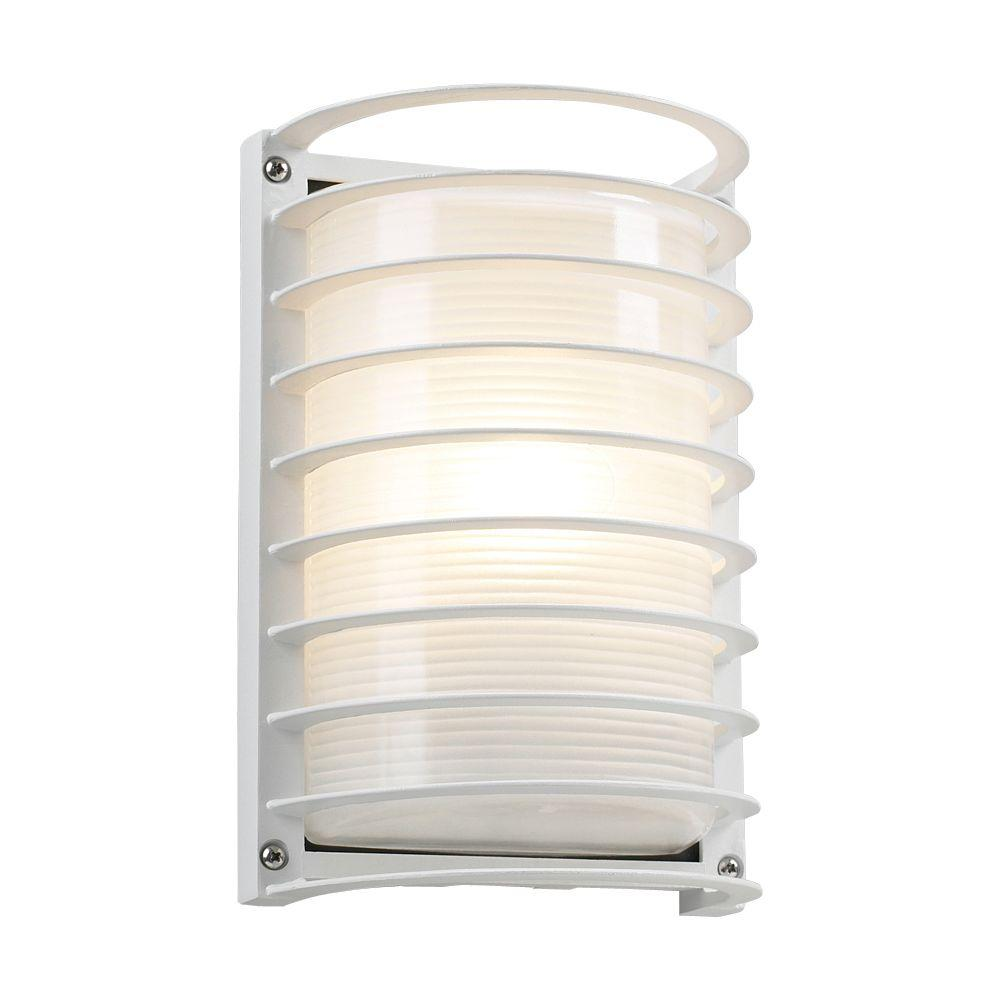 1-Light Outdoor White Wall Sconce with Frost Glass