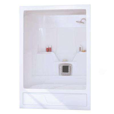 Aspen 31 in. x 60 in. x 85 in. 3-piece Acrylic Bath and Shower Kit with Right Drain in White