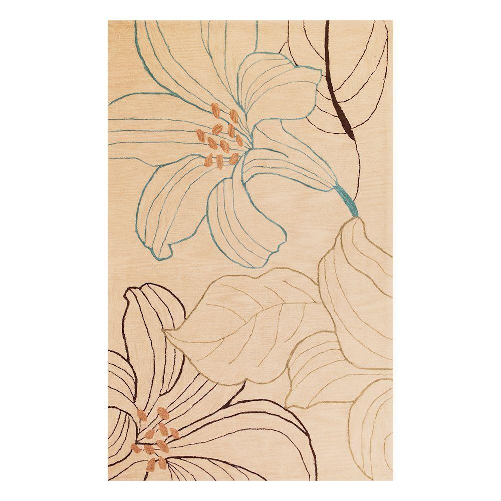 Kas Rugs Morning Lily Beige 3 ft. 3 in. x 5 ft. 3 in. Area Rug