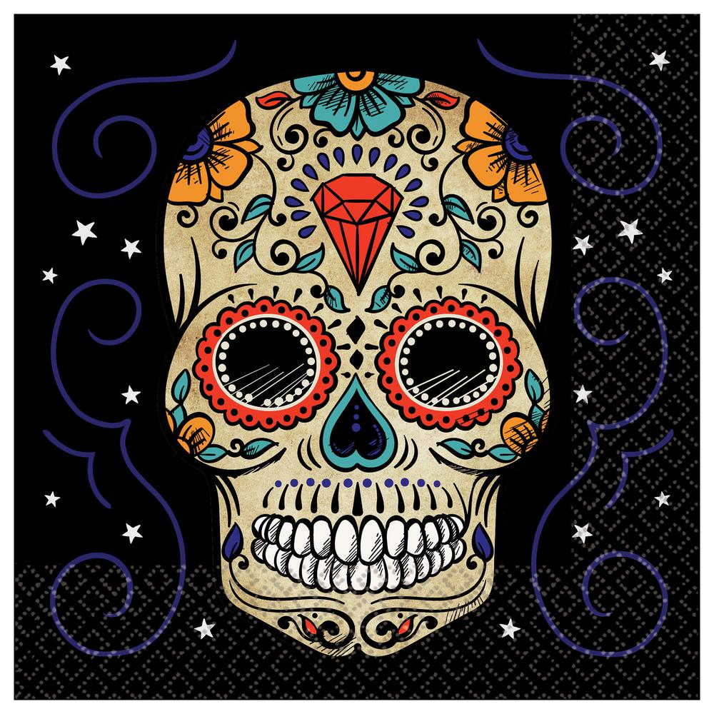 Amscan Sugar Skull Halloween Lunch Napkins (3-Pack)