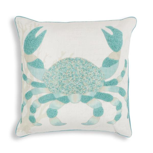 Kas Rugs Aqua Crab 18 in. x 18 in. Decorative Pillow