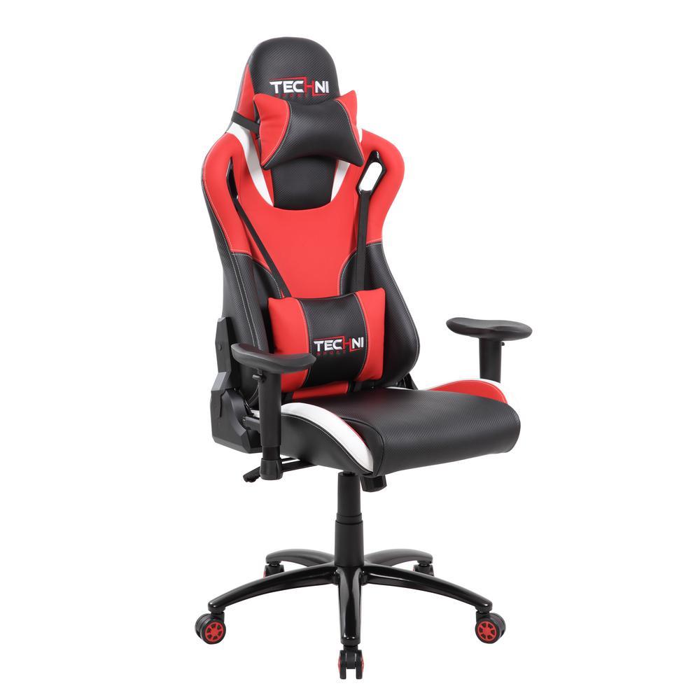 Pleasant Techni Sport Red And Black Ergonomic High Back Racer Style Dailytribune Chair Design For Home Dailytribuneorg
