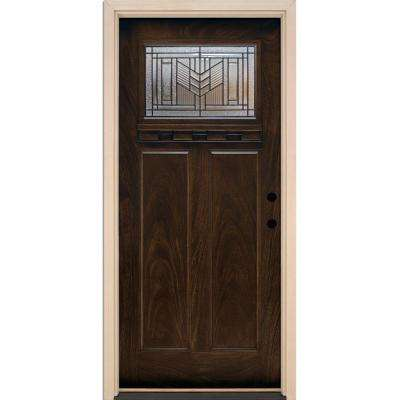 37.5 in. x 81.625 in. Phoenix Patina Craftsman Stained Chestnut Mahogany Left-Hand Inswing Fiberglass Prehung Front Door