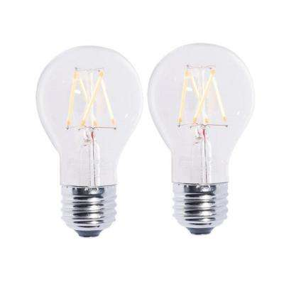 40W Equivalent Warm White Light A19 Dimmable LED Filament Light Bulb (2-Pack)