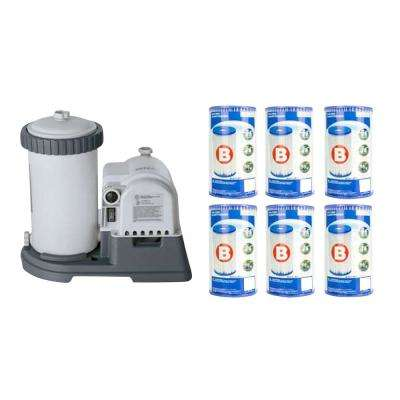 2500 GPH Krystal Clear Pool Filter Pump with GCFI and Type B Cartridge (6-Pack)