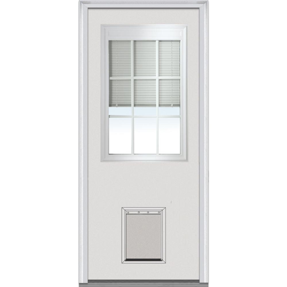 32 in. x 80 in. Internal Blinds and Grilles Right-Hand 1/2-Lite Clear Low-E Primed Steel Prehung Front Door w/ Pet Door