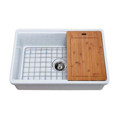 Tosca Farmhouse Fireclay 30 in. Single Bowl Kitchen Sink in White with Cutting-Board, Bottom Grid and Strainer
